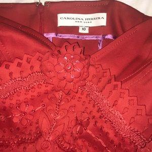 Carolina Herrera red cocktail embellished dress.